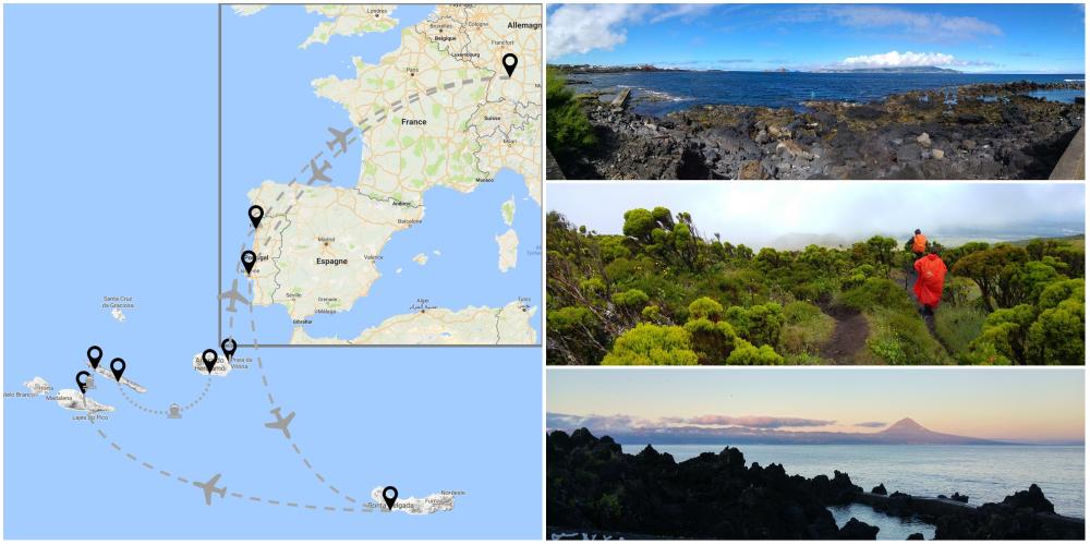 Carte et photos de mon voyage aux Açores