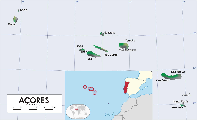 Carte des Açores nommée et située